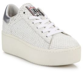 Ash Cult Snake-Embossed Leather Platform Sneakers $298 thestylecure.com