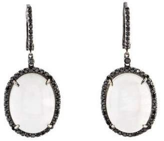 Black Diamond 14K Moonstone Labradorite & Drop Earrings