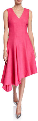 Elie Tahari Shania V-Neck Sleeveless Asymmetric Dress