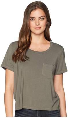 Splendid Rayon Jersey Crop Pocket Tee Women's T Shirt