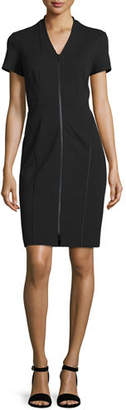 Lafayette 148 New York Zip-Front Short-Sleeve Sheath Dress, Plus Size