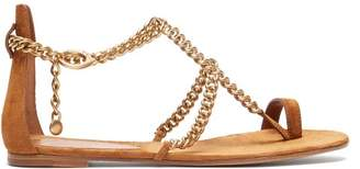 Gianvito Rossi Chain Suede Flat Sandals - Womens - Tan