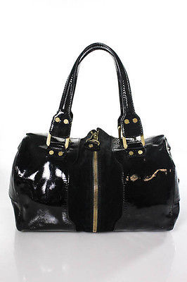 Jimmy ChooJimmy Choo Black Patent Leather Trim Suede Mandah Satchel Handbag