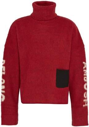 Ambush Patch pocket slogan logo intarsia turtleneck sweater