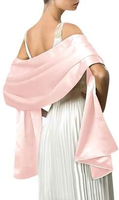 "Dasior Women's Elegant Solid Satin Shawl Wrap for Wedding Evening Party 69.0""27.5"""