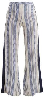 Zeus + Dione - Alcyone Geometric Jacquard Silk Blend Trousers - Womens - White Multi
