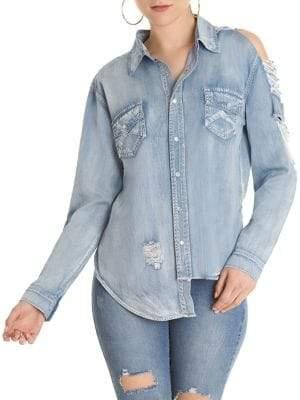 Denim Cold-Shoulder Button-Down Shirt