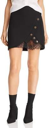 J.o.a. Lace-Trimmed Tulip Mini Skirt