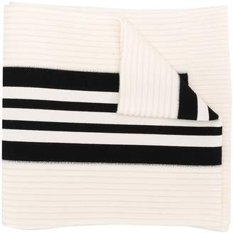 Y-3 logo ribbed-knit scarf