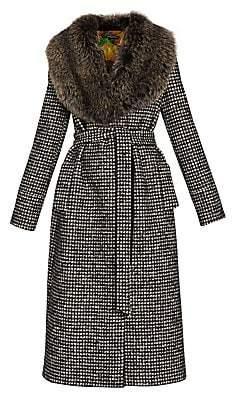 Dolce & Gabbana Women's Fox Fur-Collar Tweed Wrap Coat