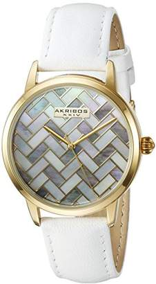 Akribos XXIV Women's Gold-Tone Mother-of-Pearl Mosaic Dial with White Glove Style Genuine Leather Strap Watch AK906WTG