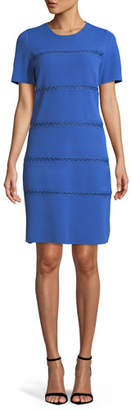 Lela Rose Short-Sleeve Crewneck Sheath Dress with Cross-stitch Detailing