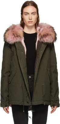 Mr & Mrs Italy SSENSE Exclusive Green and Pink Fur Mini Parka