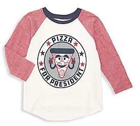 Tiny Whales Little Boy's & Boy's Pizza For President Raglan-Sleeve Tee