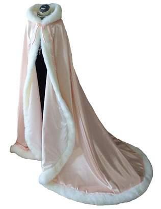 Lemai Long Wedding Cloak Hooded Cape Winter Fur Trim and Hand Muff 71 IN