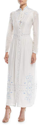 Talitha Collection Button-Front Embroidered Summer Robe Long Cotton Dress