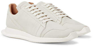 Rick Owens Oblique Full-Grain Leather Sneakers - White
