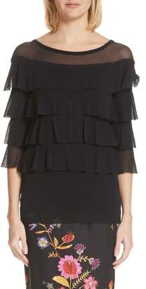 Fuzzi Illusion Neck Ruffle Tulle Top