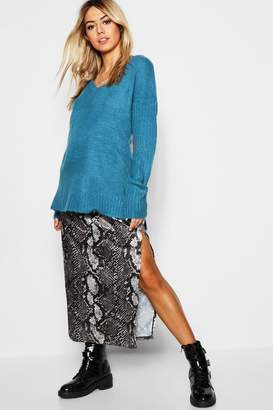 boohoo V-Neck Drop Shoulder Slouch Jumper