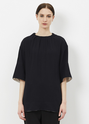 Marni black / white short sleeve crew neck blouse