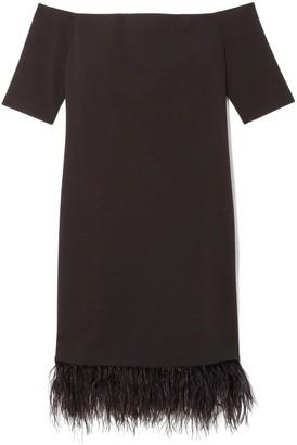 Vince Camuto Off-the-shoulder Feather-hem Dress