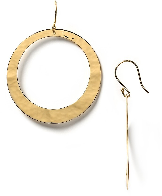 Argento Vivo Flat Hammered Cutout Hoop Earrings