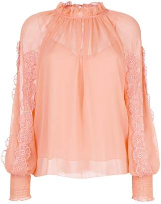 See by Chloe floral lace trim blouse