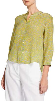 Aspesi Crewneck Button-Front 3/4-Sleeve Floral-Print Silk Shirt