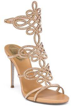 Rene Caovilla Satin & Swarovski Crystal Sandals