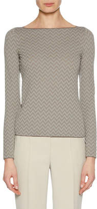 Giorgio Armani Boat-Neck Long-Sleeve Herringbone Jacquard Knit Top