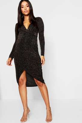 boohoo Maternity Shimmer Plunge Wrap Dress