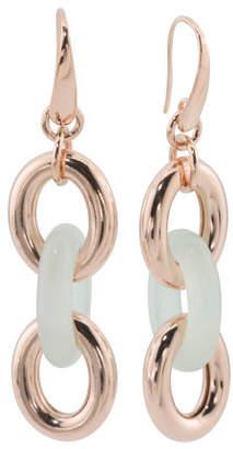 Made In Italy Bronze Oval Dangle Light Blue Quartz Earrings