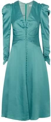Jonathan Simkhai Sateen Ruched V-Neck Dress