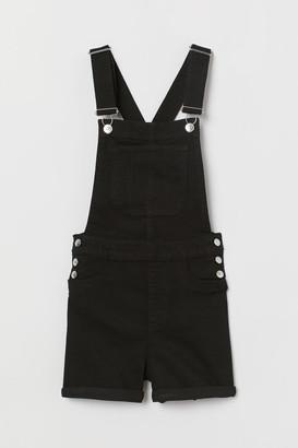 H&M Denim Bib Overall Shorts - Black