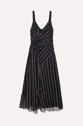 Jason Wu GREY - Striped Gathered Silk-chiffon Wrap-effect Midi Dress - Black