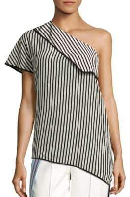 Diane von Furstenberg One Shoulder Side Slit Silk Blouse