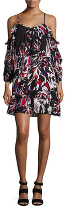Parker Aidrian Cold-Shoulder Shift Dress, Black Multi $298 thestylecure.com