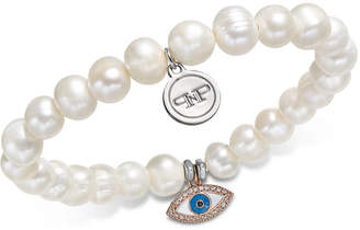 Paul & Pitu Naturally Two-Tone Pave Eye & Freshwater Pearl Stretch Bracelet
