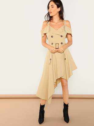 Shein Cold Shoulder Asymmetric Trench Utility Dress