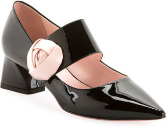Roger Vivier Rose-Button Patent Mary Jane Pumps