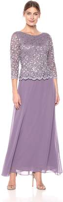 Alex Evenings Women's Long Dress with Scalloped Trim, Wed, 18