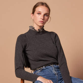 Sandro Wool sweater with fabric collar