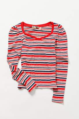 Urban Renewal Vintage Red, White + Navy Striped Long Sleeve Tee