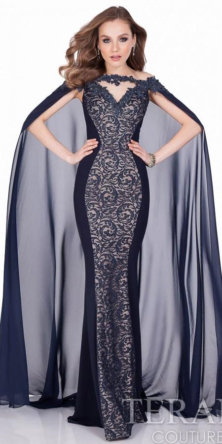 Terani Couture Swirling Lace Chiffon Cape Evening Dress