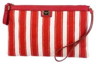 Dolce & Gabbana Striped Canvas Wristlet