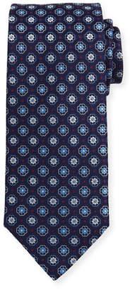 Eton Woven Flower Medallion Silk Tie, Blue $145 thestylecure.com