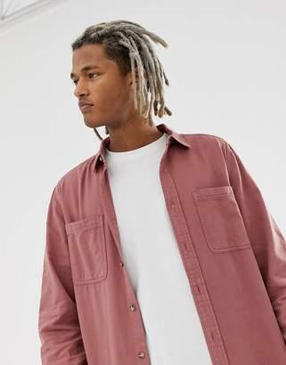 Asos Design DESIGN regular washed twill shirt in pink