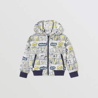 Burberry Comic Strip Print Lightweight Hooded Jacket , Size: 14Y, Yellow