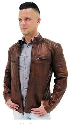 De Marca Cafe Racer Bikers Leather Jacket For Men