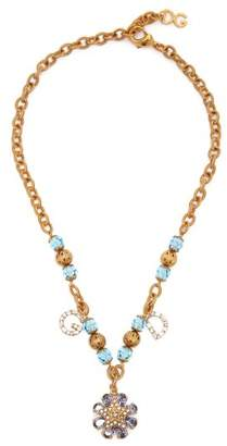 Dolce & Gabbana Logo And Star Crystal Embellished Necklace - Womens - Gold